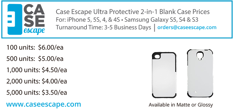Case Escape New 2-in-1 Blank Case Pricing